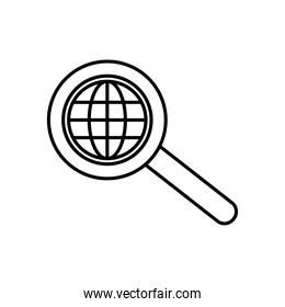 magnifying glass with global sphere icon, line style