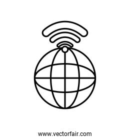 global sphere with wifi signal icon, line style