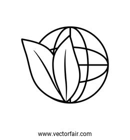 global sphere with leaves icon, line style