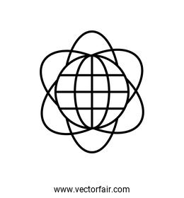 atom with global sphere icon, line style