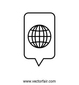 speech bubble and global sphere icon, line style