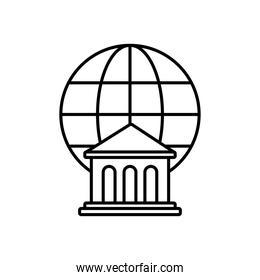bank building and global sphere icon, line style