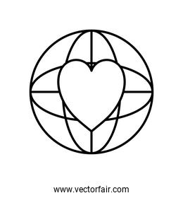 global sphere with heart icon, line style
