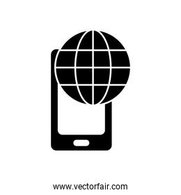 global sphere and smartphone icon, silhouette style