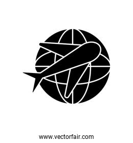 airplane and global sphere icon, silhouette style