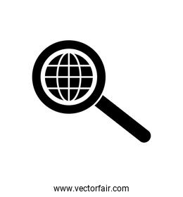 magnifying glass with global sphere icon, silhouette style
