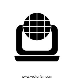 laptop computer and global sphere icon, silhouette style