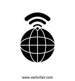 global sphere with wifi signal icon, silhouette style