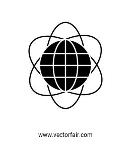 atom with global sphere icon, silhouette style