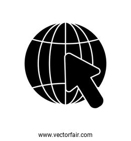 global sphere and cursor icon, silhouette style