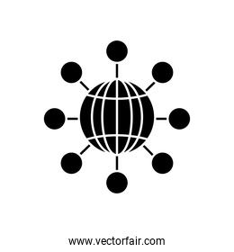 global sphere icon, silhouette style