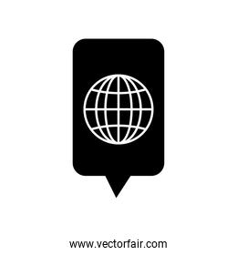 speech bubble and global sphere icon, silhouette style