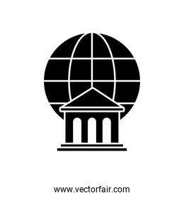 bank building and global sphere icon, silhouette style