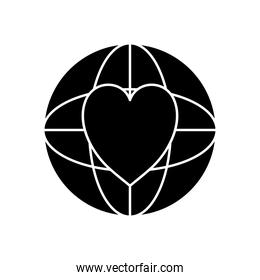 global sphere with heart icon silhouette style