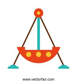 fair ship atracction icon, flat style