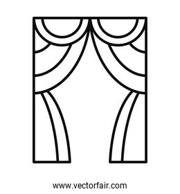 theater curtain icon, line style