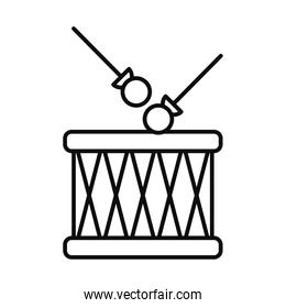 drum and sticks icon, line style