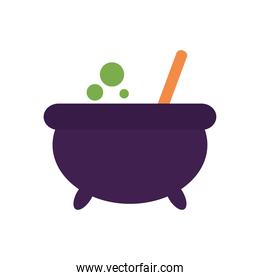 witch potion pot icon, flat style