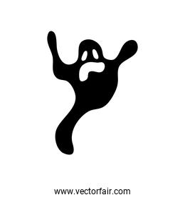 Halloween ghost icon, silhouette style