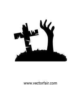 halloween cross grave and hand out of ground, silhouette style