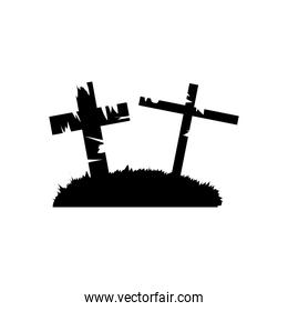 graves with crosses, silhouette style