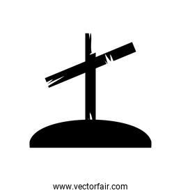 icon of cementery cross icon, silhouette style