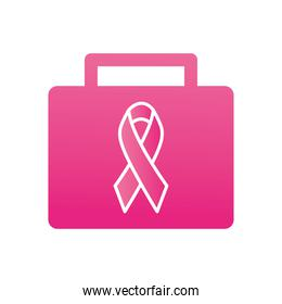 first aid kit with breast cancer ribbon icon, gradient style