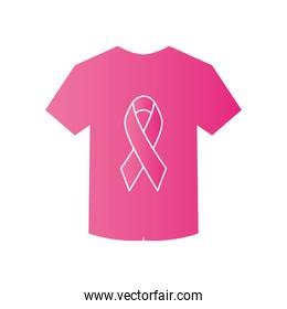 tshirt with cancer ribbon icon, gradient style