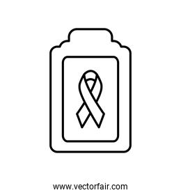 clipboard with cancer ribbon icon, line style