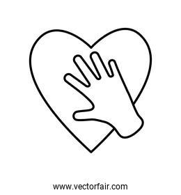 hand and heart icon, line style