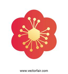 chinese flower gradient style icon vector design