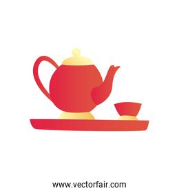 chinese tea pot with cup gradient style icon vector design