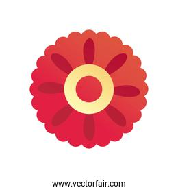 chinese flower in circle shaped gradient style icon vector design
