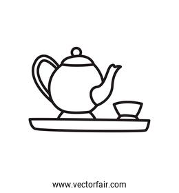chinese tea pot with cup line style icon vector design