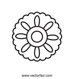 chinese flower in circle shaped line style icon vector design