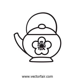 chinese tea pot line style icon vector design