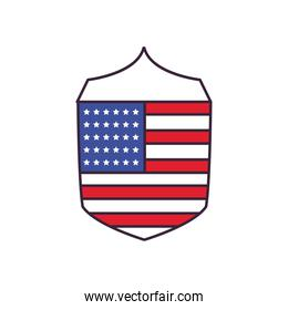 usa flag in shield line and fill style icon vector design