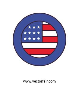 usa flag button line and fill style icon vector design