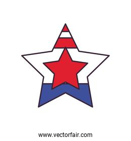usa flag star shaped line and fill style icon vector design