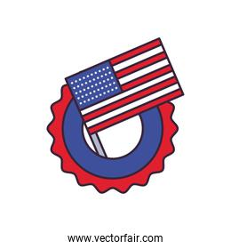 usa flag in seal stamp line and fill style icon vector design