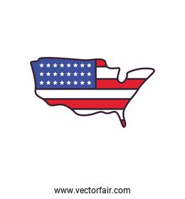 usa map with flag line and fill style icon vector design