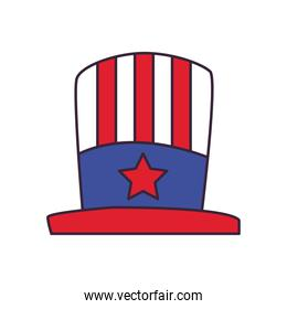 usa hat line and fill style icon vector design