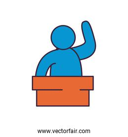 president on podium line and fill style icon vector design