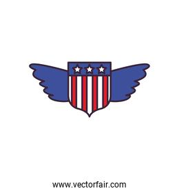 usa shield with wings line and fill style icon vector design