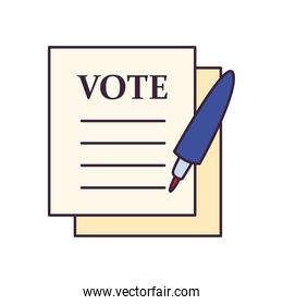 vote paper with pen line and fill style icon vector design