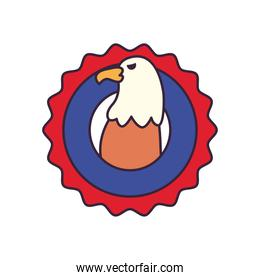 usa eagle in seal stamp line and fill style icon vector design