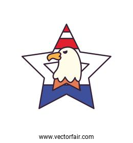 usa eagle in star line and fill style icon vector design