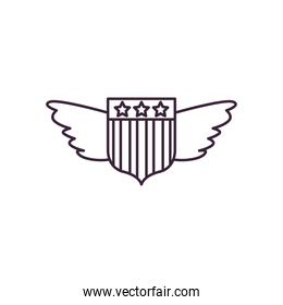 usa shield with wings line style icon vector design