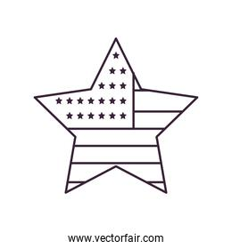 usa flag star shaped line style icon vector design