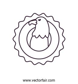 usa eagle in seal stamp line style icon vector design